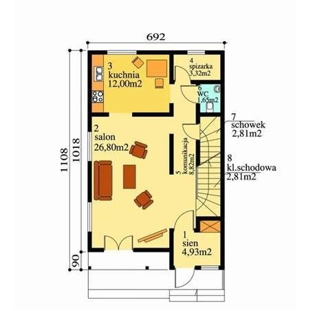 Proiecte Case - Proiect Casă Mică, cu Mansardă, 136 mp, 3 Camere, 2 Băi, ID 69