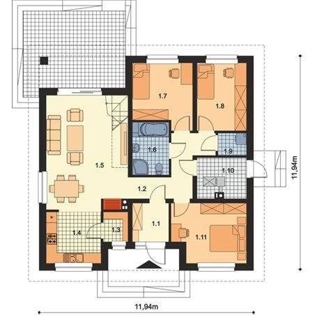 Proiecte Case - Proiect Casă Mică, Parter, 130 mp, 4 Camere, 2 Băi, ID 3111