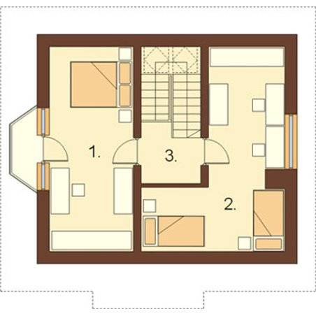 Proiecte Case - Proiect Casă Mică, cu Mansardă, 142 mp, 3 Camere, 1 Băi, ID 2444