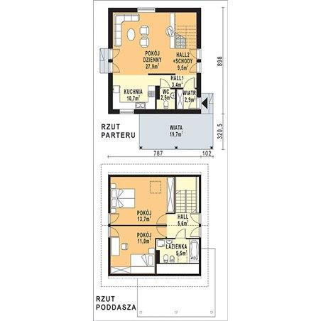 Proiecte Case - Proiect Casă Mică, cu Mansardă, 141 mp, 3 Camere, 2 Băi, ID 5590