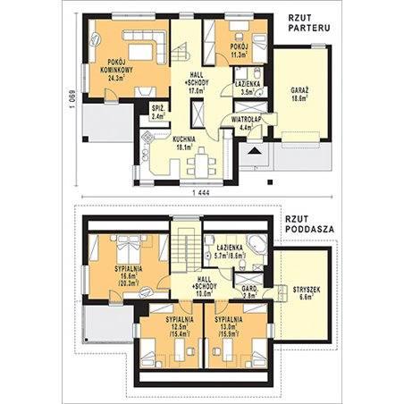 Proiecte Case - Proiect Casă Mică, cu Mansardă, 142 mp, 5 Camere, 2 Băi, ID 5470