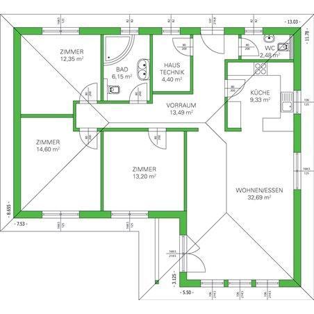 Proiecte Case - Proiect Casă Mică, Parter, 130 mp, 4 Camere, 2 Băi, ID 4817