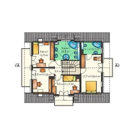 Proiecte Case - Proiect Casă de Lux, cu Mansardă, 201 mp, 5 Camere, 3 Băi, ID 4579
