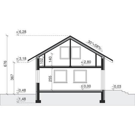 Proiecte Case - Proiect Casă Mică, cu Mansardă, 130 mp, 4 Camere, 2 Băi, ID 4573