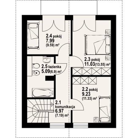 Proiecte Case - Proiect Casă Mică, cu Mansardă, 135 mp, 5 Camere, 2 Băi, ID 4313