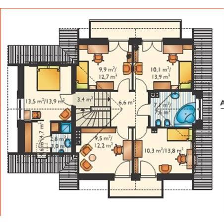 Proiecte Case - Proiect Casă de Lux, cu Mansardă, 200 mp, 6 Camere, 3 Băi, ID 4146