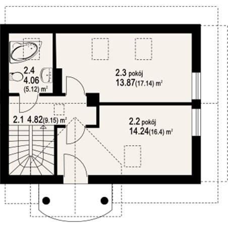 Proiecte Case - Proiect Casă Mică, cu Mansardă, 140 mp, 3 Camere, 2 Băi, ID 6340